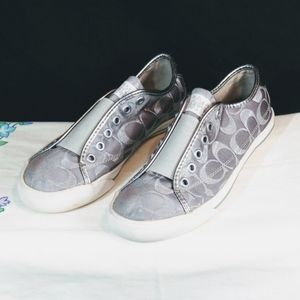 Coach Silver Monogram Slip On Sneaker Almost New